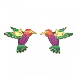 Wooden Pendant Violetear Set (Suitable for Earrings) 58x38mm (NOT FOR SALE IN PORTUGAL)