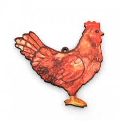 Wooden Pendant Chicken 56x55mm  (NOT FOR SALE IN PORTUGAL)