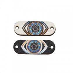Wooden Connector Tag w/ Eye 24x8mm