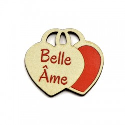"""Wooden Pendant 2 Hearts """"Belle Ame"""" 39x35mm"""