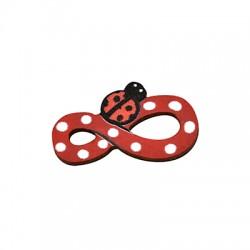 Wooden Connector Infinity Ladybug 22x12mm