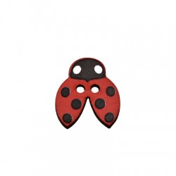 Wooden Button Ladybug 16x18mm