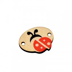 Wooden Connector Oval Ladybug 21x16mm