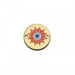 Wooden Connector Round Sun w/ Evil Eye 17mm