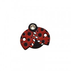 Wooden Connector Ladybug w/ Strass 16x14mm