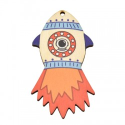 Pendentif vaisseau spatial en Bois 44x80mm