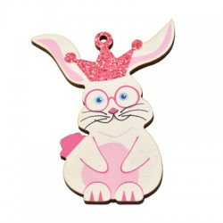Wooden Pendant Bunny Crown 58x77mm