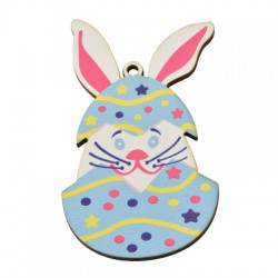 Wooden Pendant Egg Bunny 48x77mm