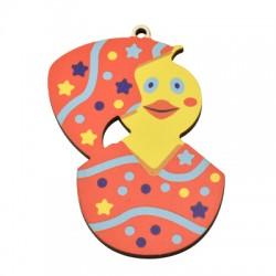 Wooden Pendant Egg Bird 45x72mm