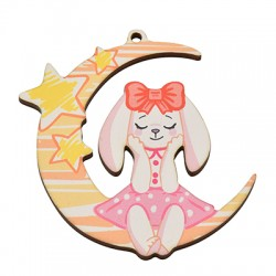Wooden Pendant Moon Bunny 67x65mm