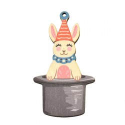 Wooden Pendnant Hat Bunny 47x85mm