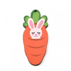 Wooden Pendant Carrot Bunny 35x80mm