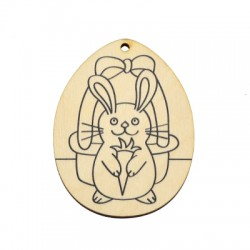 Wooden Pendant Egg Bunny 53x70mm