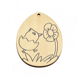 Wooden Pendant Egg Bird 53x70mm