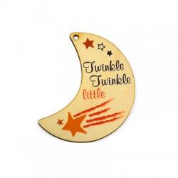 Wooden Pendant Half Moon 'Twinkle' Stars 58x64mm