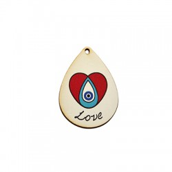 "Wooden Lucky Pendant Drop Heart Eye ""Love"" 32x45mm"