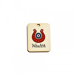 "Wooden Lucky Pendant Horseshoe Eye ""Wealth"" 32x40mm"