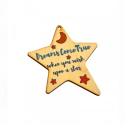 """Wooden Lucky Pendant Star Moon """"Dreams Come True"""" 60x69mm"""