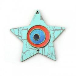 Ξύλινο Μοτίφ Αστέρι Μάτι 73x72mm