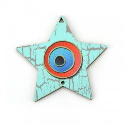 Ξύλινο Μοτίφ Γούρι Αστέρι Μάτι 73x72mm