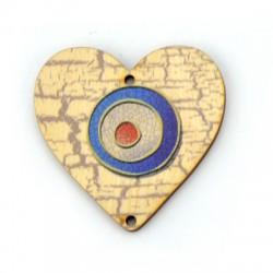 Ξύλινο Μοτίφ Γούρι Καρδιά Μάτι 50mm