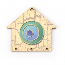 Wooden Pendant House w/ Eye 70x65mm