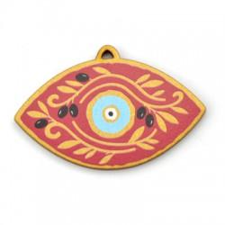 Wooden Pendant Eye w/ Olives 60x35mm