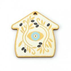 Wooden Pendantt House Eye w/ Olives 55mm