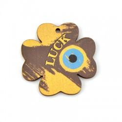 "Wooden Pendant Four Leaf Clover w/ Eye ""LUCK"" 45mm"