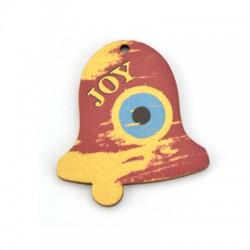 """Ξύλινο Μοτίφ Γούρι Καμπάνα Μάτι """"JOY"""" 45x50mm"""