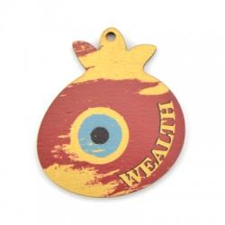 "Wooden Pendant Pomegranate Eye ""Wealth"" 56x65mm"