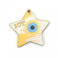 """Ξύλινο Μοτίφ Γούρι Αστέρι Μάτι """"JOY"""" 52x50mm"""