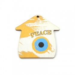 """Ξύλινο Μοτίφ Γούρι Σπίτι Μάτι """"PEACE"""" 54mm"""