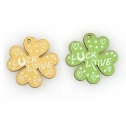 "Wooden Pendant Four Leaf Clover ""LUCK LOVE"" 30mm"