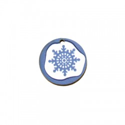 Ξύλινο Μοτίφ Στρογγυλό Χιονονιφάδα 25mm