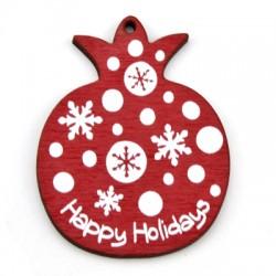 """Ξύλινο Μοτίφ Ρόδι """"Happy Holidays"""" 43x55mm"""