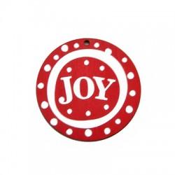 """Ξύλινο Μοτίφ Στρογγυλό """"JOY"""" 55mm"""
