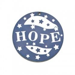 """Ξύλινο Μοτίφ Στρογγυλό """"HOPE"""" 65mm"""