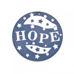 """Wooden Pendant Round  """"HOPE"""" 65mm"""