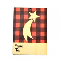 """Wooden Card Star """"From - To"""" 60x85mm"""