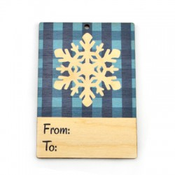 """Wooden Card Snowflake """"From - To"""" 60x85mm"""