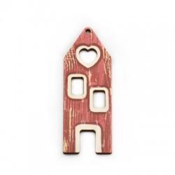 Wooden Pendant House Heart 25x70mm