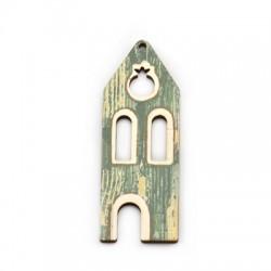 Wooden Pendant House Pomegranate 27x75mm