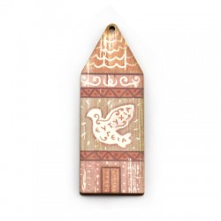Wooden Pendant House Pigeon 29x80mm