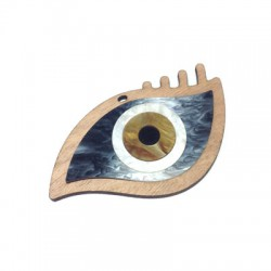 Ciondolo di Legno e Plexiacrilico Occhio Portafortuna 110x65mm