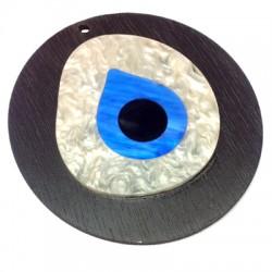 Ciondolo di Legno e Plexiacrilico Rotondo con Occhio Turco 88x94mm