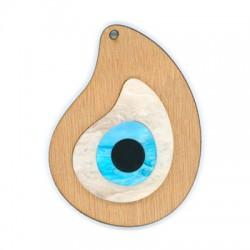 Ciondolo di Legno e Plexiacrilico Goccia con Occhio Turco 80x60mm