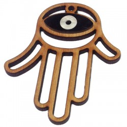 Ciondolo di Legno e Plexiacrilico Mano di Fatima con Occhio Turco 58x69mm