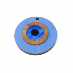 Ciondolo di Legno Rotondo 40mm con Occhio Turco in Plexiacrilico