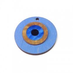 Ξύλινο Μοτίφ Στρογγυλό με Πλέξι Ακρυλικό Μάτι 40mm